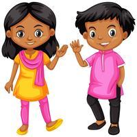 Menina e menino da Índia vetor