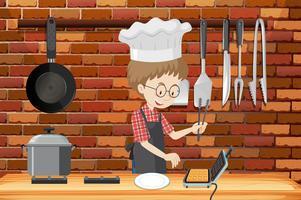 Um homem cozinhar waffle na cozinha vetor