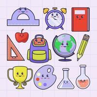 papelaria escolar ilustração estilo kawaii vetor