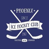 estampa de camiseta do clube de hóquei no gelo, design vintage vetor
