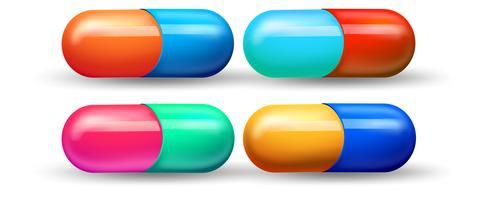 Um conjunto de cápsula colorida vetor
