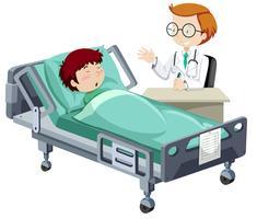 Um menino doente dormindo no hospital vetor