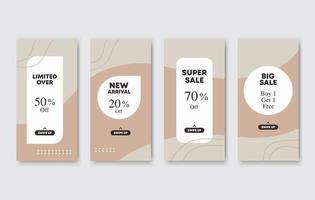 conjunto de 4 banners editáveis de colagem de fotos verticais e quadradas. design de modelos minimalistas para postagem em mídia social e publicidade online. estilo de cor pastel. ilustração do vetor de tendência