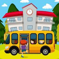 Ônibus escolar em frente à escola vetor