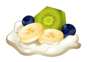 Creme e frutas frescas vetor