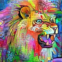 feroz como uma pintura de retrato de leão vetor
