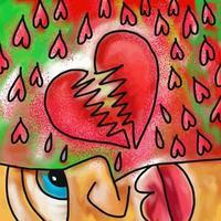 aquarela pintura de coração partido vetor