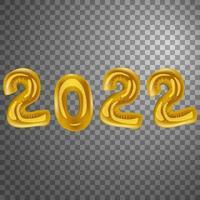 Balões dourados de vetor de ano novo 2022 com fundo transparente