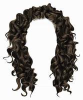 cabelo comprido encaracolado de mulher na moda. 3d realista. loiro castanho penteado. estilo de moda beleza. vetor