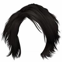 na moda mulher cabelos despenteados kare com franja. cor morena marrom escura. Comprimento médio . estilo de beleza. 3d realista. vetor