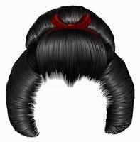 penteado japonês com fivela. cabelos pretos cores morena. mulheres moda estilo de beleza. 3d realista. vetor