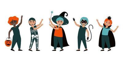 conjunto de meninos isolados em fantasias de halloween vetor