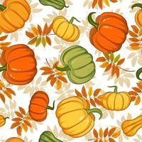 padrão de outono sem costura com abóboras brilhantes e folhas. mão desenhada padrão em estilo simples. papel de parede, têxteis, papel de embrulho, preenchimento de páginas, capa, teia, embalagem. vetor