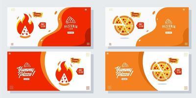 pizza pizzaria panfleto conjunto de vetores coleção desenho animado banner web ui ux anúncios ilustração fundo com ícone de salsicha, promoção da página inicial do site