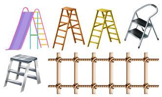 Diferentes tipos de escadas vetor