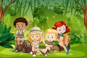 Camping crianças na natureza vetor