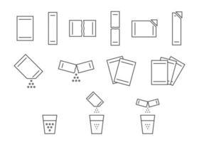 conjunto de ícones de linha de pó solúvel de pacote sachê. Abra a vara do pacote de papel com pó. saco solúvel de medicamento ou açúcar alimentar, sal, café. traço editável de bolsa de símbolo. ilustração vetorial vetor