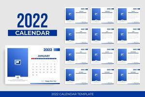 modelo de calendário de negócios com moldura para foto vetor