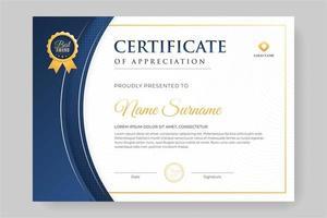 lindo projeto de certificado com detalhes em azul vetor