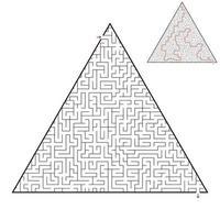 labirinto triangular difícil. jogo para crianças e adultos. quebra-cabeça para crianças. uma entrada, uma saída. enigma do labirinto. ilustração em vetor plana isolada no fundo branco. com resposta.