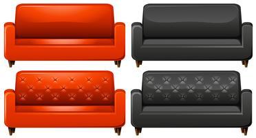 Sofá vermelho e preto vetor