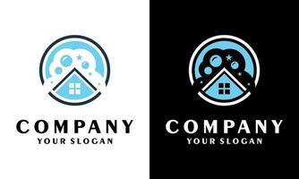 Gráfico de ilustração vetorial de design de logotipo de vetor de limpeza de casa, ecologicamente correto com conceito brilhante de casa e círculo