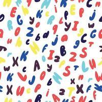 padrão sem emenda de crianças fofas com letras alfabéticas, procure o quarto das crianças, roupas, cartões postais vetor