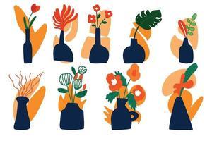 grande conjunto de vetores de vasos abstratos com flores desenhadas à mão. vasos com flores em um fundo abstrato de manchas, estilo boho