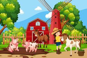 Um, menina, em, natureza, fazenda vetor