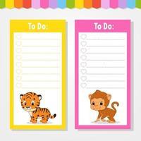 para fazer uma lista para crianças. modelo vazio. ilustração isolada do vetor da cor. personagem engraçado. estilo de desenho animado. para o diário, caderno, marcador.