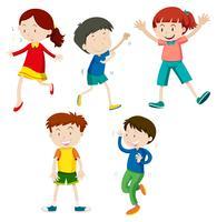 Um conjunto de crianças dançando vetor