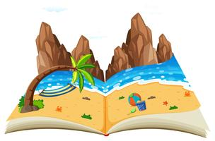Um livro de paisagem natural pop up vetor