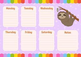 cronograma escolar. calendário para crianças. modelo vazio. planejador semanal com notas. ilustração isolada do vetor da cor. personagem engraçado. estilo de desenho animado.
