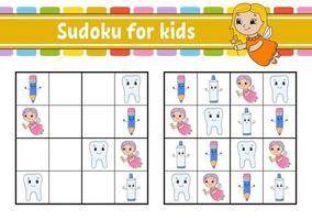 sudoku para crianças. planilha de desenvolvimento de educação. página de atividades com fotos. jogo de puzzle para crianças. treinamento de pensamento lógico. ilustração isolada do vetor. personagem engraçado. estilo de desenho animado. vetor