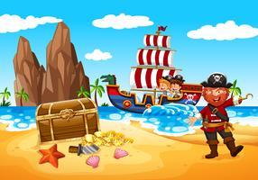 Pirata feliz e crianças vetor
