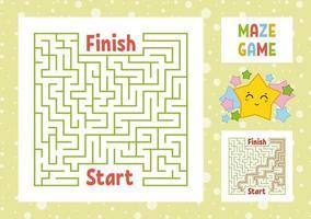 labirinto quadrado colorido. encontre o caminho certo do início ao fim. planilhas para crianças. página de atividades. jogo de quebra-cabeça para crianças. estrela bonito dos desenhos animados. enigma do labirinto. ilustração vetorial. com resposta. vetor