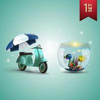 conjunto de ícones volumétricos de verão 3D para suas artes, scooter com guarda-sol e aquário redondo com peixes vetor