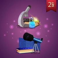 conjunto de ícones 3D de volta às aulas, microscópio, livros, frasco químico, telescópio, mapa das constelações e a enciclopédia da astronomia vetor