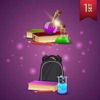 conjunto de ícones 3D de volta às aulas, livros, frascos químicos e mochila escolar vetor