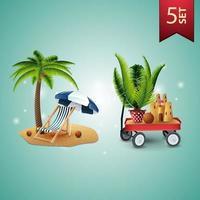 conjunto de ícones volumétricos de verão 3D para suas artes, palmeira, cadeira de praia, guarda-sol, carrinho de jardim com areia, castelo de areia e palmeira em vaso vetor