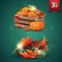 conjunto de ícones 3d do outono, caixas de madeira com abóboras maduras, beirais de outono, cogumelos e folhas de outono vetor