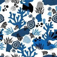 Padrão sem emenda de mar de vetor com texturas de mão desenhada