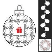 brinquedo de Natal do labirinto. jogo para crianças. quebra-cabeça para crianças. encontre o caminho para o presente. enigma do labirinto. ilustração em vetor plana isolada no fundo branco. com a resposta.