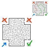 labirinto quadrado abstrato. encontre o caminho certo. jogo para crianças. quebra-cabeça para crianças. enigma do labirinto. ilustração em vetor plana isolada no fundo branco. com resposta. com lugar para sua imagem.