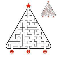labirinto de triângulo abstrato. jogo para crianças. quebra-cabeça para crianças. encontre o caminho certo para a estrela. enigma do labirinto. ilustração vetorial isolada no fundo branco. com resposta. árvore de Natal. vetor