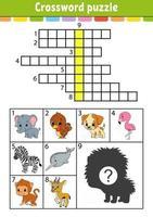 palavras cruzadas. planilha de desenvolvimento de educação. página de atividades para estudar inglês. com fotos coloridas. jogo para crianças. ilustração isolada do vetor. personagem engraçado. estilo de desenho animado. vetor