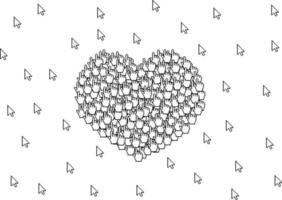cartão de dia dos namorados muitos cursores formam um sinal de símbolo de coração de amor no fundo branco vetor