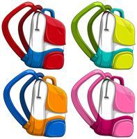 Schoolbags em cores diferentes vetor