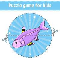 jogo de puzzle para crianças. planilha de desenvolvimento de educação. jogo de aprendizagem para crianças. página de atividades. para criança. enigma para a pré-escola. ilustração em vetor plana simples simples no estilo bonito dos desenhos animados.