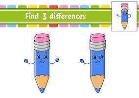 encontrar diferenças. planilha de desenvolvimento de educação. página de atividades. jogo para crianças. ilustração vetorial isolada no estilo bonito dos desenhos animados. vetor